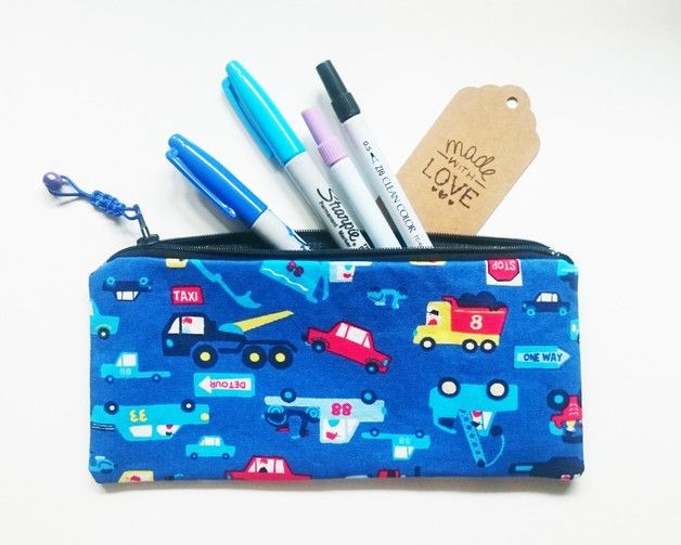 Pencil Case – Blue Vehicles Fully Lined Pencil Pouch – a unique product by gooseygoosey on DaWanda