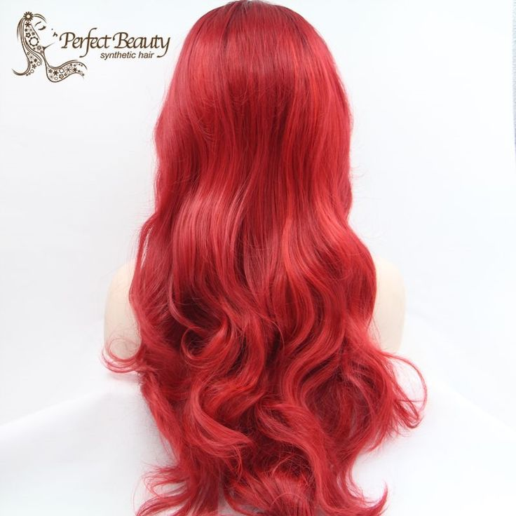 59.50$  Watch now - http://ali2d3.worldwells.pw/go.php?t=32577995451 - Red Curly Wig Lace Front Dark Roots Red Wig Synthetic Cheap Good Quality Ombre Wig Heat Resistent Long Curly Cosplay Lolita 59.50$