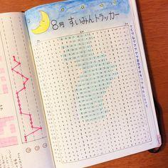 8月の睡眠トラッカーを紹介します(*^^*) 上のイラストが気に入っています。水彩色鉛筆で描きました。 昨日紹介した、習慣&体調トラッカーの隣のページです。 睡眠時間帯にマーカーで色を塗っています。マーカーは、マイルドライナーのマイルドブルーです。 これ。 左端の数字は、睡眠時間です。 実はマークしている睡眠時間帯は結構アバウト。1冊目のバレットジャーナルの時から、この睡眠トラッカーを書くのに挑戦していたのですが、なかなか続かなかったんです。 睡眠時間を厳密に記録しようとしすぎたのが原因だと気づき、次のルールで記録することにしました。 寝るとき、その時間をスマホに記録(何時台か、だけ。例えば、10時20分だったら「10時」とだけ記録する)。 朝起きたとき、その時間をスマホに記録(何時台か、だけ。例えば、6時45分だったら「6時」とだけ記録する)。 暇な時に、スマホの記録を見ながら、一気に睡眠トラッカーにマーキングする。 こんな感じでアバウトに記録することにしたら、長続きするようになりました。…