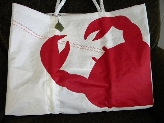 "Recycled sail cloth bag  ""Crab"" on Etsy, $98.00"