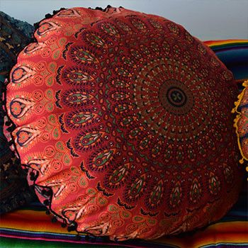 Mandala Tapestry Floor Cushion: Red and Black