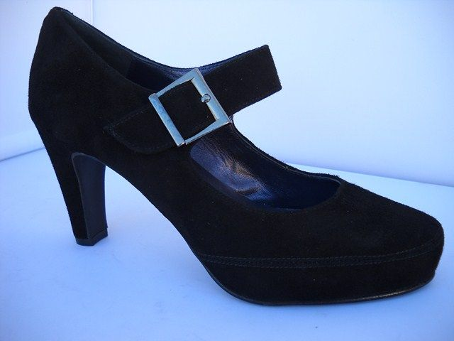 Brenda Zaro from Spain.  Suede court with buckle closing.  Available in Black with 8cm heel height.    Sizes range 36-41.