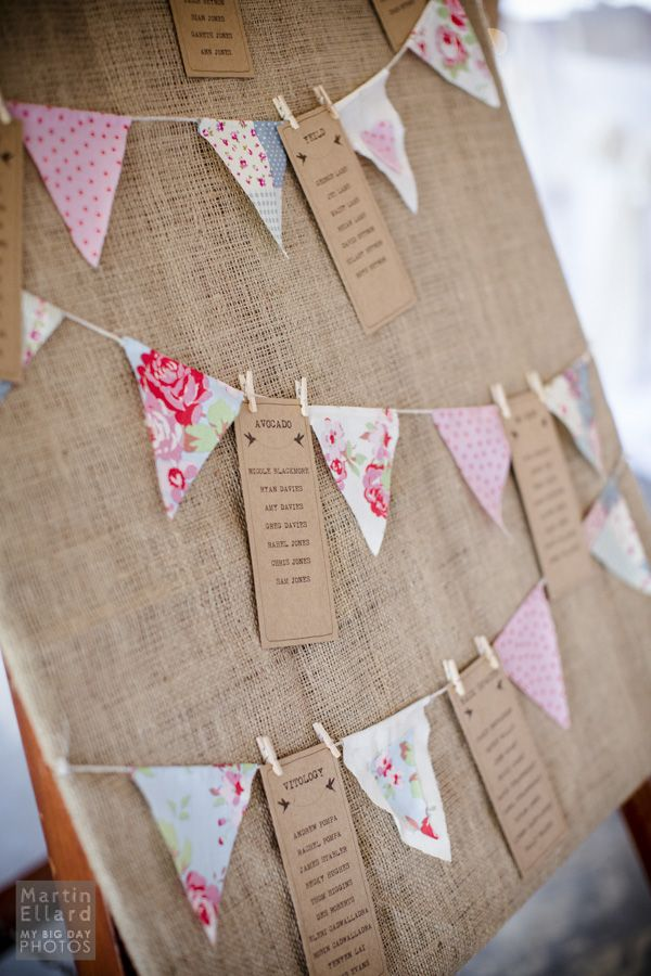 Love this 'bunting' idea for table plan c/o Caroline and Darren Gower wedding photography Más