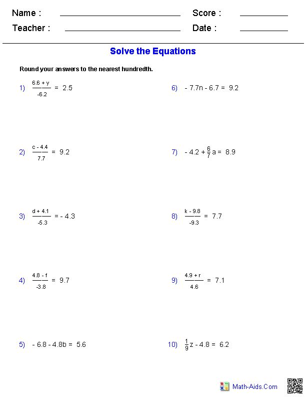 two step equations worksheets containing decimals math aids com algebra worksheets algebra. Black Bedroom Furniture Sets. Home Design Ideas