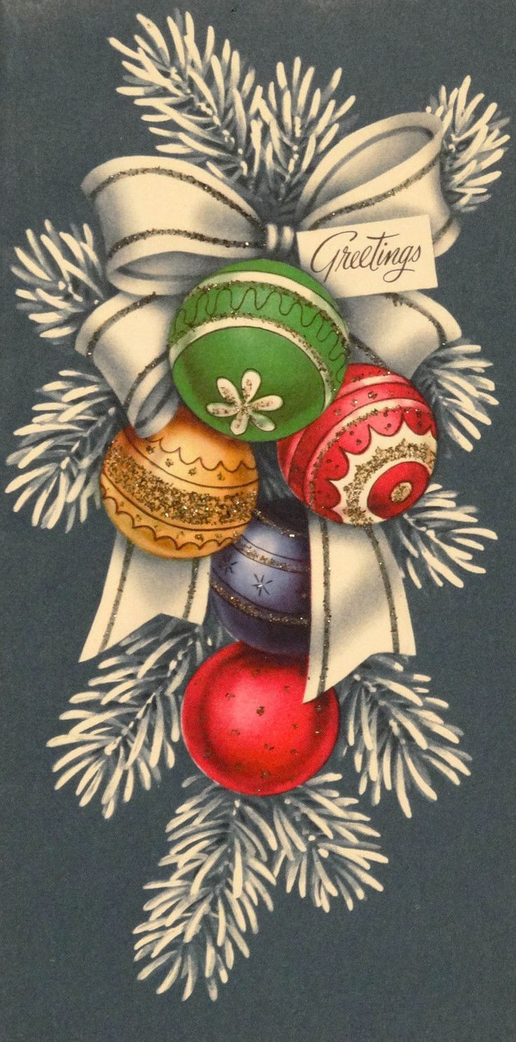 143 50s Mid Century Glittered Tree Ornaments Vintage Christmas Card Greeting | eBay