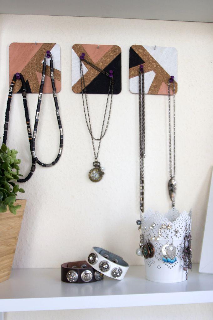 DIY Halsketten aufbewahren mit Kork