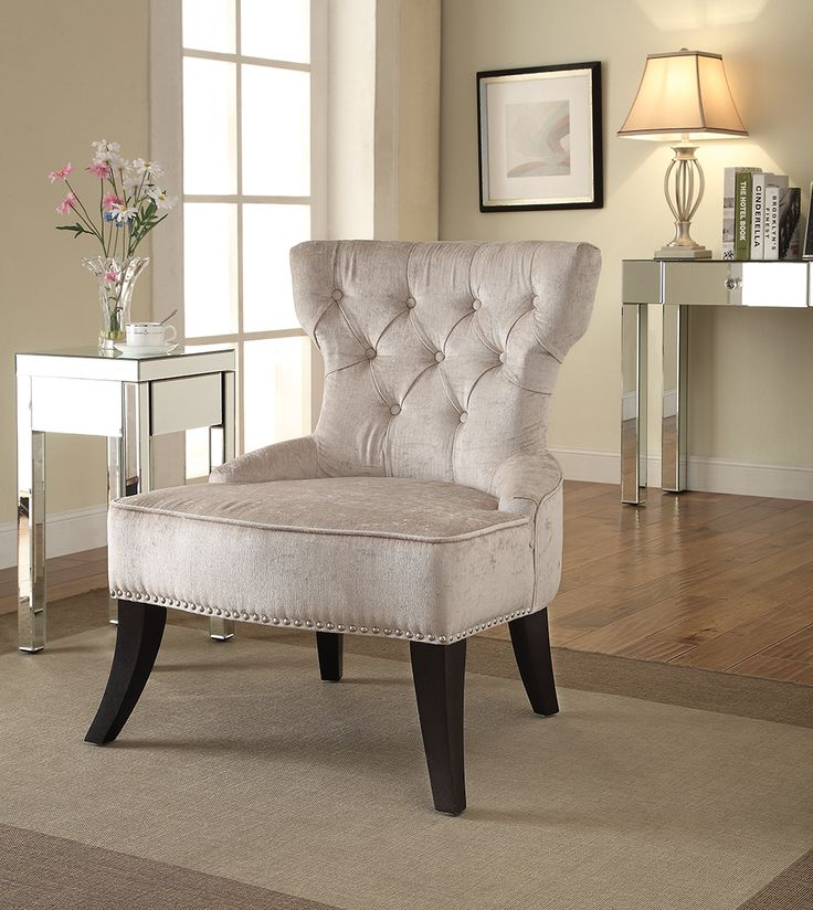 Ave Six Colton Vintage Velvet Polyester, Fabric U0026 Wood Tufted Side Chair,  Brilliance Parchment Cream