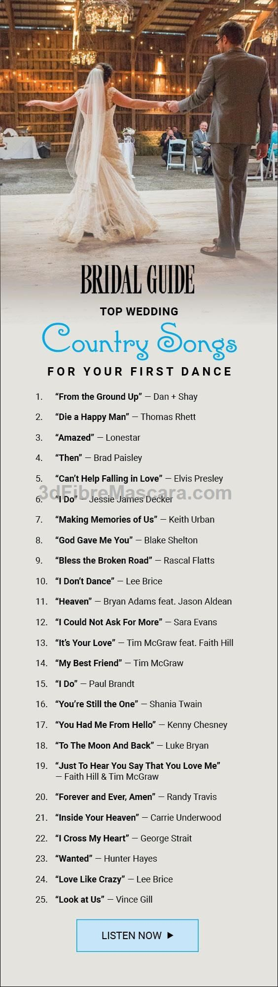 Here are the top country songs for your first dance as a married couple! Our first dance song is definitely going to be All of Me, but these are some great ideas to add in slow songs to the mix #weddings #wedding #marriage #weddingdress #weddinggown #ballgowns #ladies #woman #women #beautifuldress #newlyweds #proposal #shopping #engagement