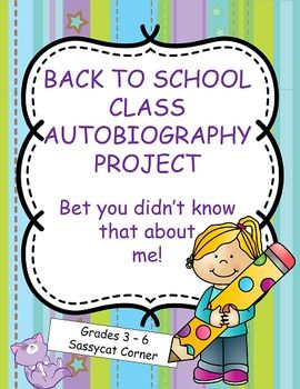 Freebie!   Writing a short autobiography the first week of school can serve many purposes.  Its a great icebreaker, giving you the chance to get to know your students.  If shared with the class, it allows the other students to get to know each other (and you)!  It provides you with  a meaningful sample of your students writing with which to assess their skills.