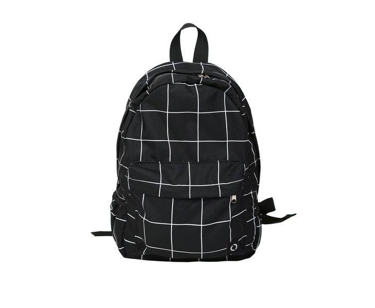 Rucksäcke - Schulrucksack Rucksack Schwarz-Weiß Gitter  - ein Designerstück von MoodyMood bei DaWanda