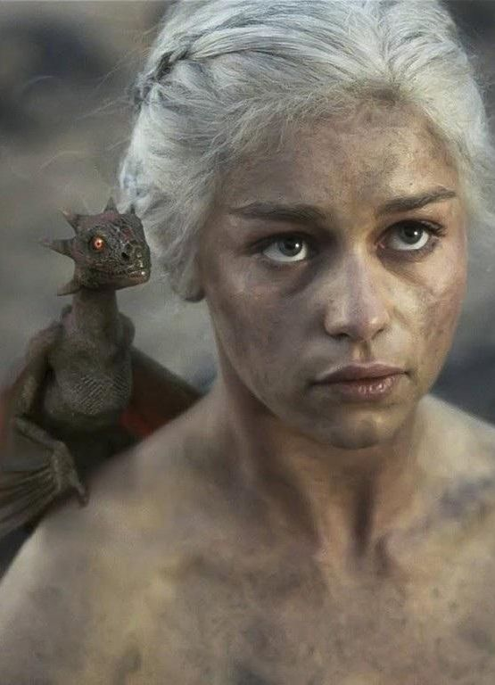 Emilia Clarke as DaenerysTargaryen with her Dragons