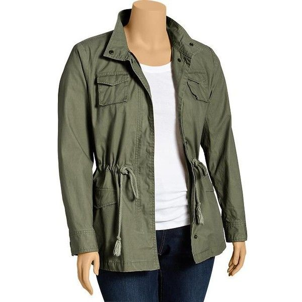Old Navy Womens Plus Canvas Military Jackets - Arugula ($25) ❤ liked on Polyvore featuring outerwear, jackets, women, canvas military jacket, army green jacket, plus size womens jackets, canvas jacket and field jacket