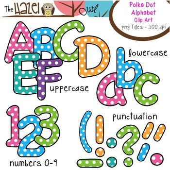 Polka Dot Alphabet Clip Art!  Uppercase, lowercase, and punctuation!  $