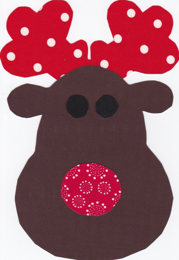 Christmas Chubby Reindeer Fabric Iron On (would be easy to make for applique) use cricut, cute fabric and googly eyes.
