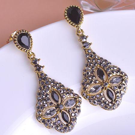 Turkish Jewelry Black Drop Earrings For Women Gold Plated Pendientes Bijoux Joias Ouro Vintage Acrylic Flower Rhombus Bijuteria