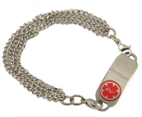 """This stylish and practical medical ID bracelet is sure to keep you secure. The smart triple chain makes for a smart design. The all stainless medical ID plate will be custom engraved with your specific medical information. The stainless medical ID tag measures about 1.7"""" by .05 and comes in seven colors.   This medical bracelet comes with an optional medical heart charm or round charm option, see pull down menu to choose this option.  www.stylishmedicalid.com"""
