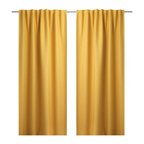 IKEA VILBORG Curtains, 1 pair Yellow 145x300 cm The densely woven curtains darken the room and provide privacy by preventing people outside from seeing...