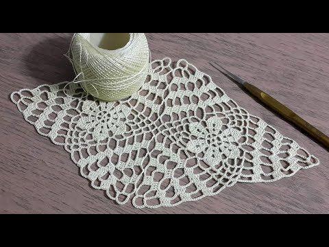 Üçgen dantel motifi yapılışı & Crochet - YouTube