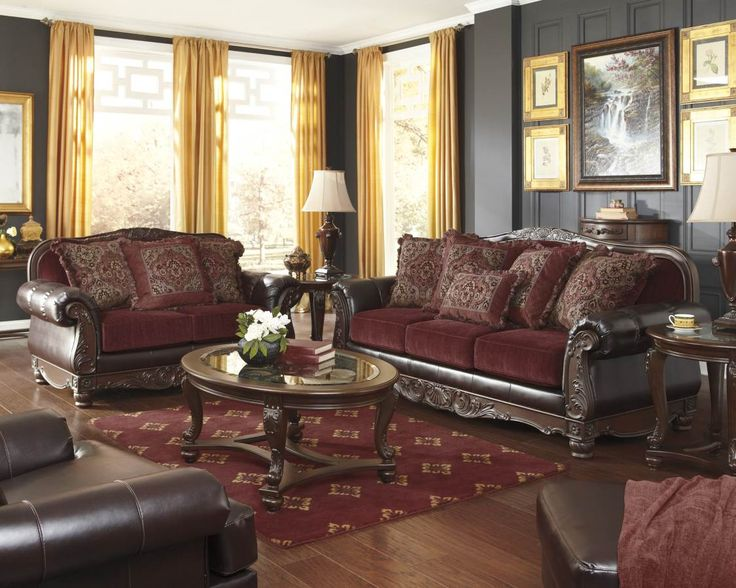 burgundy sofa and loveseat wedge sectional weslynn place polyurethane living room set ...