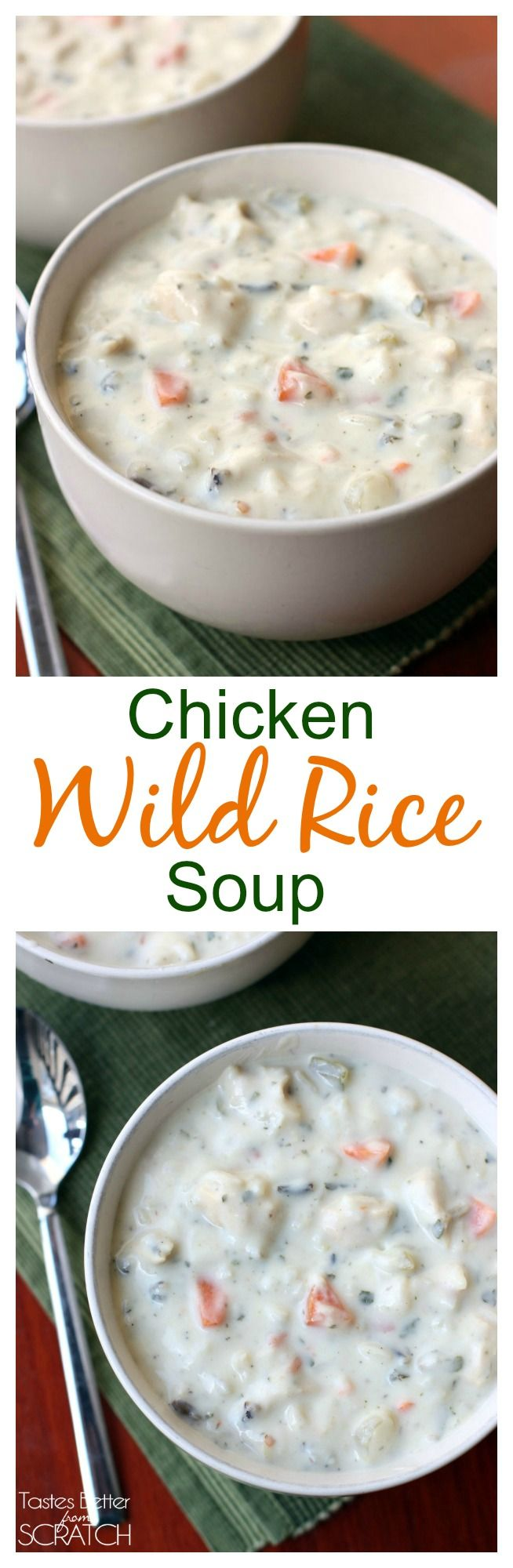 The best creamy chicken and wild rice soup recipe that the whole family will LOVE! Recipe on MyRecipeMagic.com
