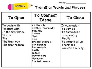transition words for narrative writing By the end of this assessment, students will be able to use transition words to organize events in narrative writing in this assessment lesson, students complete different activities to show their knowledge.