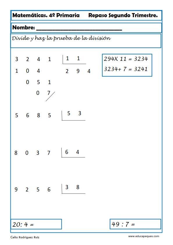 Recursos educativos: Ejercicios Matemáticas Primaria Hoy nos toca repasar matemáticas en cuarto de primaria para niños de 9-10 años .