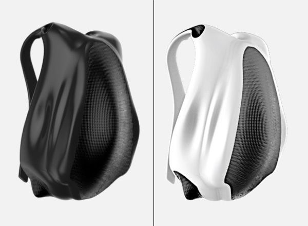 "futuristic backpack ""bag7"" for mobile lifestyle in black and white | mobility & sport . Mobilität & Sport . mobilité & sport | Design: Karan Singh Gandhi @ Yanko Design |"