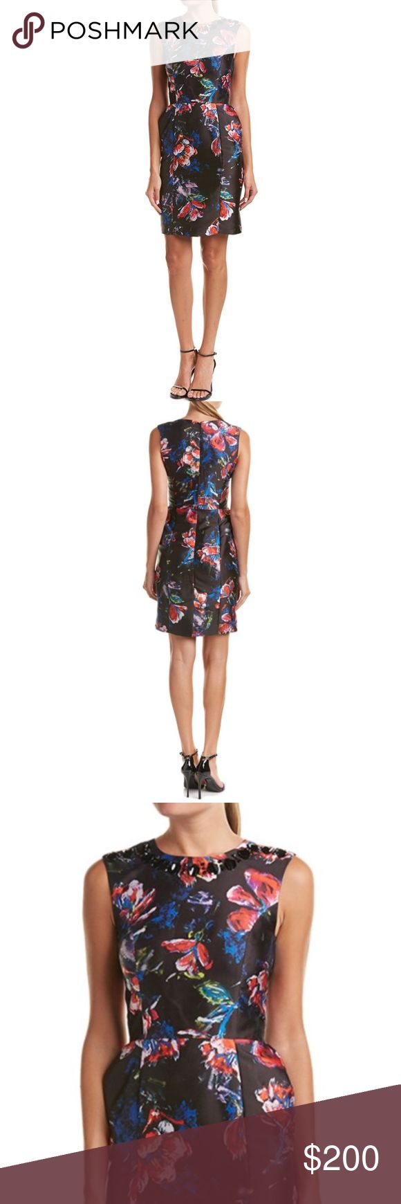 Sachin & Babi Noir Embellished Floral Dress Structured cocktail dress in a pretty floral print with an embellished neckline, tailored bodice, and inverted pleats. Back zipper and hook-eye closure. Sachin + Babi Dresses
