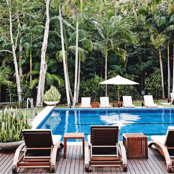This luxurious pool looking out over a rainforest garden can be found at the Byron at Bryon near Bryon Bay in NSW. Its a buckelist luxury resort for me!
