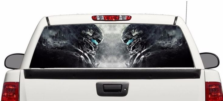 Military dark art rear window graphics Decal Sticker 50/50view 66''x22'' Truck #Perforated