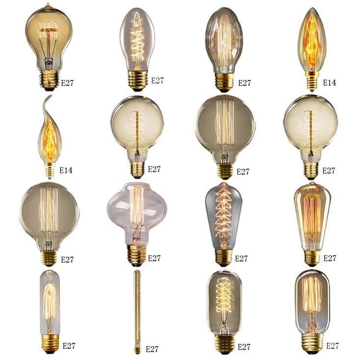edison filament light bulb vintage industrial retro light lamp variety styles e27e14 screw 40w - Vintage Light Bulbs