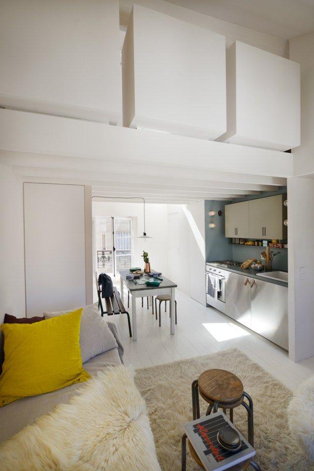 Espace minimum petite cuisine petit salon tout en blanc vivre dans les · floorbuildinginterior designrefurbishmentpetite