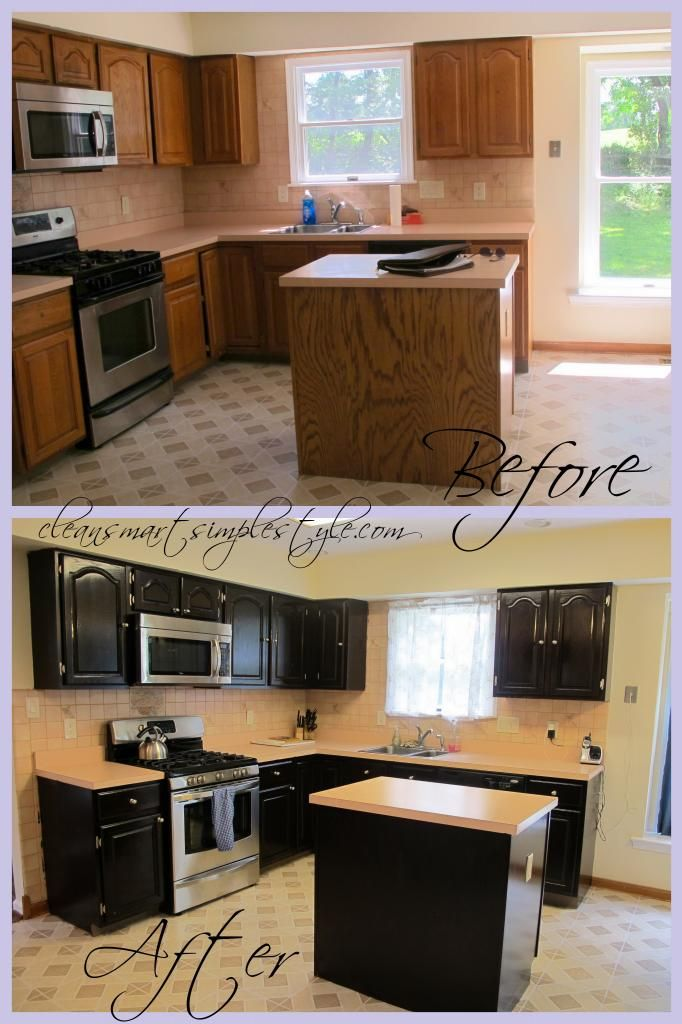 Gel Stain kitchen cabinet before/after - black cabinets with white counter tops! I want a prettier backsplash though. :)