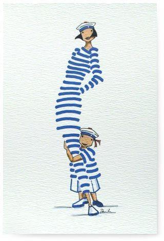 Rue du Port - Broderie à points comptés - Carte Postale - Maman et son garçon