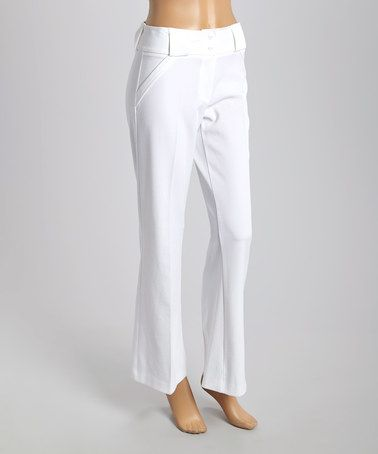 Love this White Center Pleat Pants - Women on #zulily! #zulilyfinds