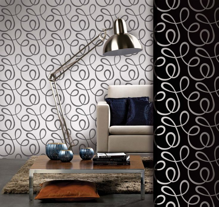 Empapelado - Rulo blanco y negro - Papel de parede