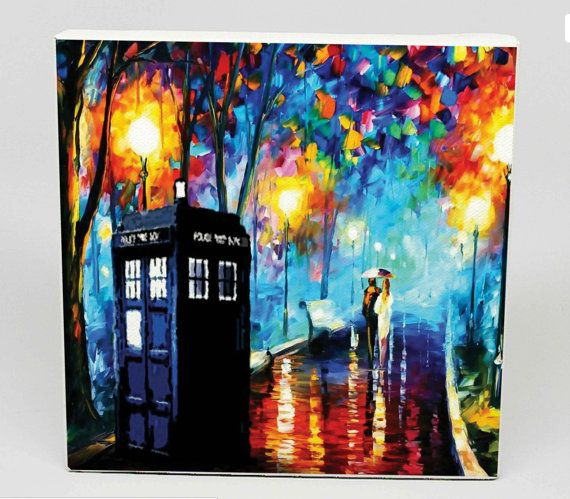 Tardis Doctor Who in The Rain  Canvas Print of by PrintPrintnan, $11.00