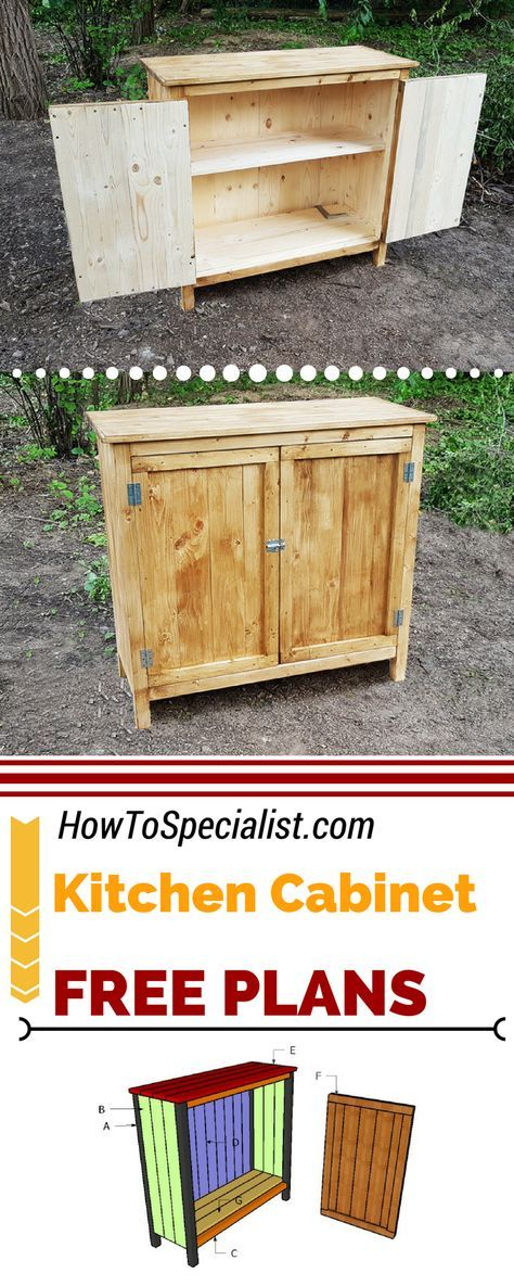 Free plans and a step by step tutorial to build a rustic kitchen cabinet. This farmhouse cabinet is ideal if you want a quick weekend project. Full tutorial at: howtospecialist.com #diy #howto
