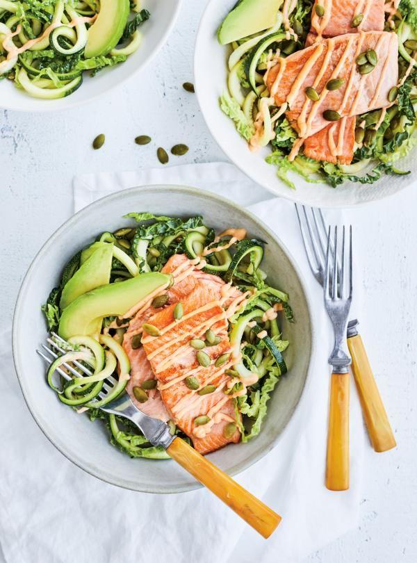 Truite poêlée et salade de courgettes aux graines de citrouille | RICARDO