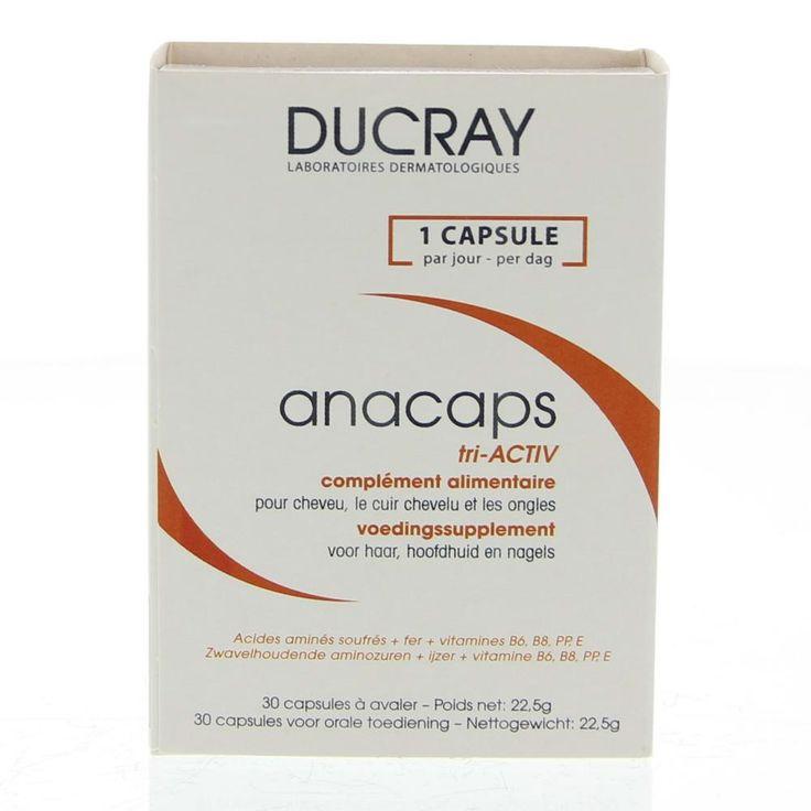 Ducray Anacaps Tri-Activ Complément Alimentaire Capsules Haar/Hoofdhuid/Nagels  Description: Ducray Anacaps Tri-Activ Complément Alimentaire.Het voedingssupplement bij uitstek dat uw haren en nagels weer snel gezond en sterk maakt. Dankzij een speciale formulering voorziet Anacaps Tri-Activ de haarwortel en de nagelmatrix van essentiële voedingsstoffen (vitamine B6 B8 E PP en ijzer) die haar en nagels weer sterk en levenskrachtig maken.- Een heerlijke chocoladesmaak van de supplementen…