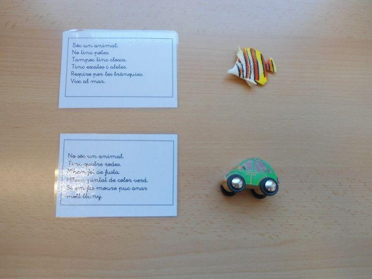 Descripcions d'objectes. Han de relacionar la targeta amb l'objecte que descriu.