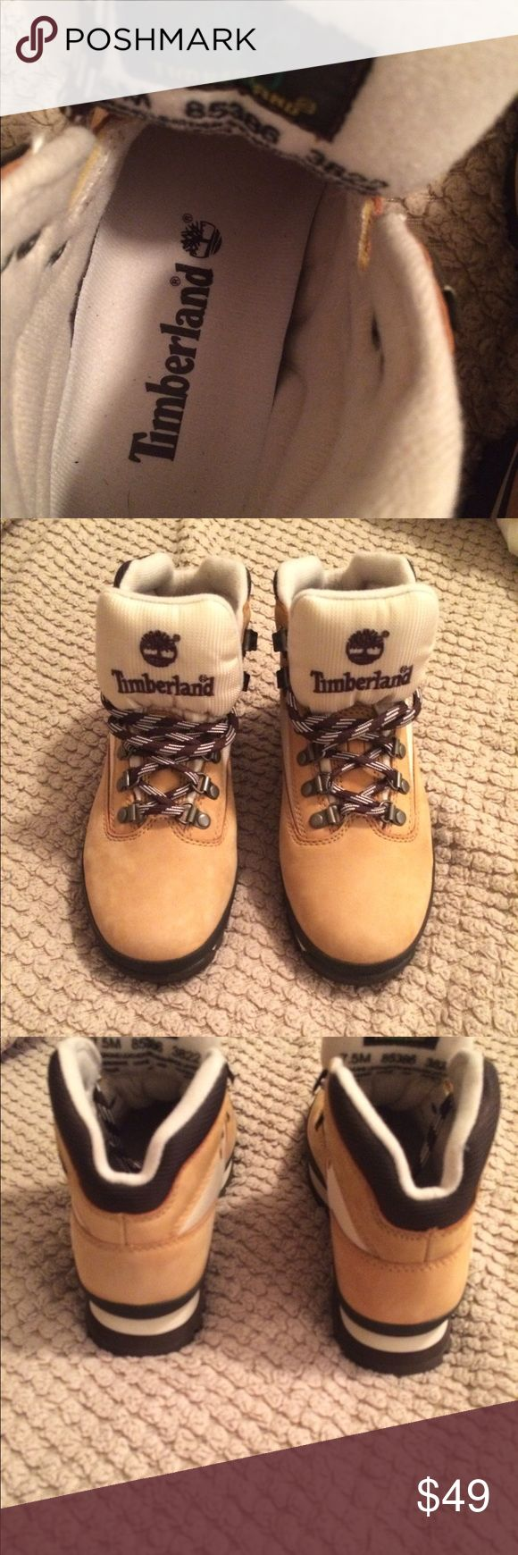 Timberland field boots 7.5m Timberland women's field boots. 7.5 M  Wheat color with cream mesh. Never Worn ! Timberland Shoes Ankle Boots & Booties