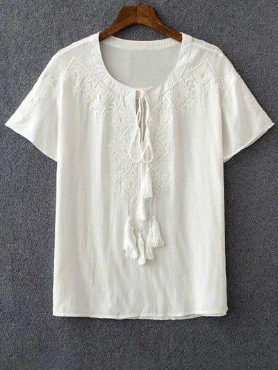 Stylish Round Neck Short Sleeve Embroidery White Women's T-Shirt - WHITE L