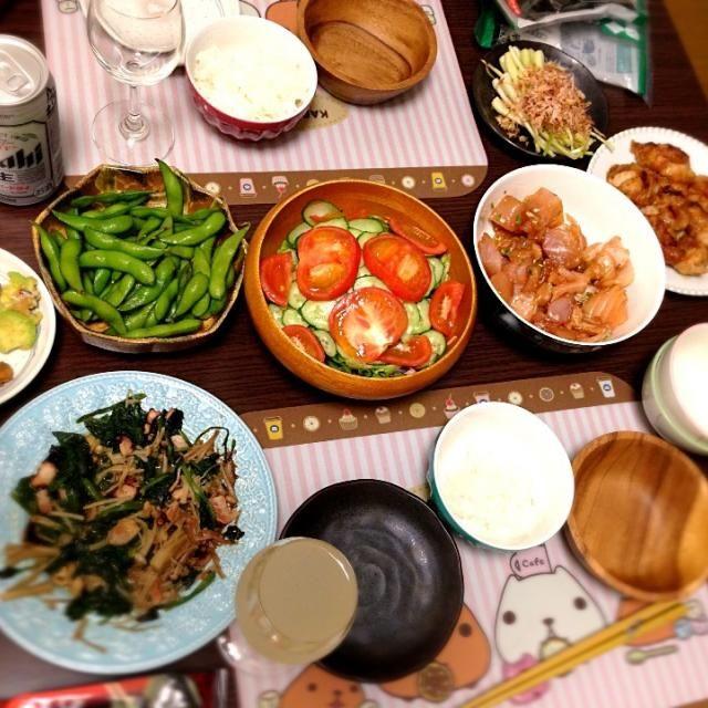 沖縄土産の島らっきょも一緒に食しました。 - 1件のもぐもぐ - マグロ漬け、島らっきょ、唐揚げ by 荒木 英幸