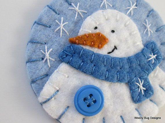 Baby Boy's First Christmas Wool Felt Snowman by WoollyBugDesigns, $12.00