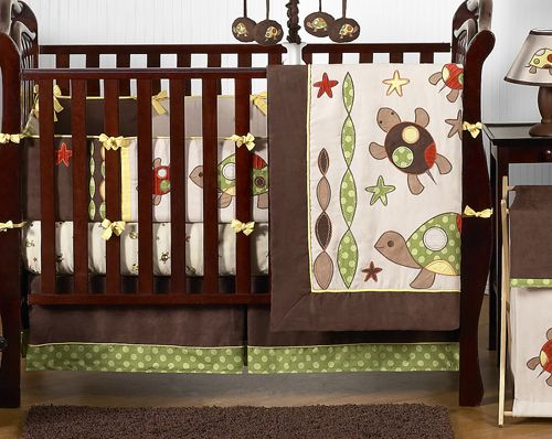 starfish nursery bedding | Green Brown Turtle Baby Bedding 9P Crib Set for Newborn Boy Room by ...