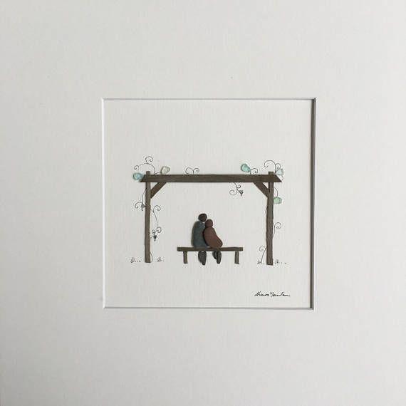 Pebble Art romantisch Vine werf door Sharon Nowlan pebble