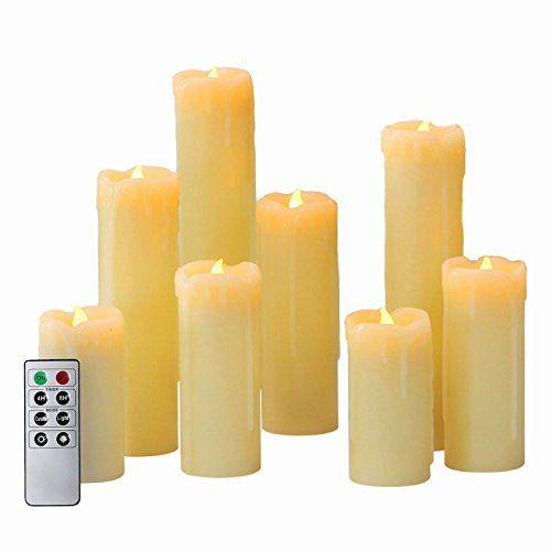 Set of 8 Assorted Ivory Wax Drip Slim Flameless Candles with Remote LampLust http://www.amazon.com/dp/B00R4YFNEI/ref=cm_sw_r_pi_dp_8zYWwb0R49302