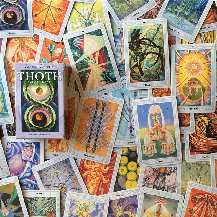 The Thoth Tarot Deck, also known as the Crawley deck, was designed by Aleister Crawley and painted by Lady Frieda Harris in 1943. Crawley was a member of the Hermetic Order of the Golden Dawn and he includes many kabbalistic and astrological attributions on the tarot cards.