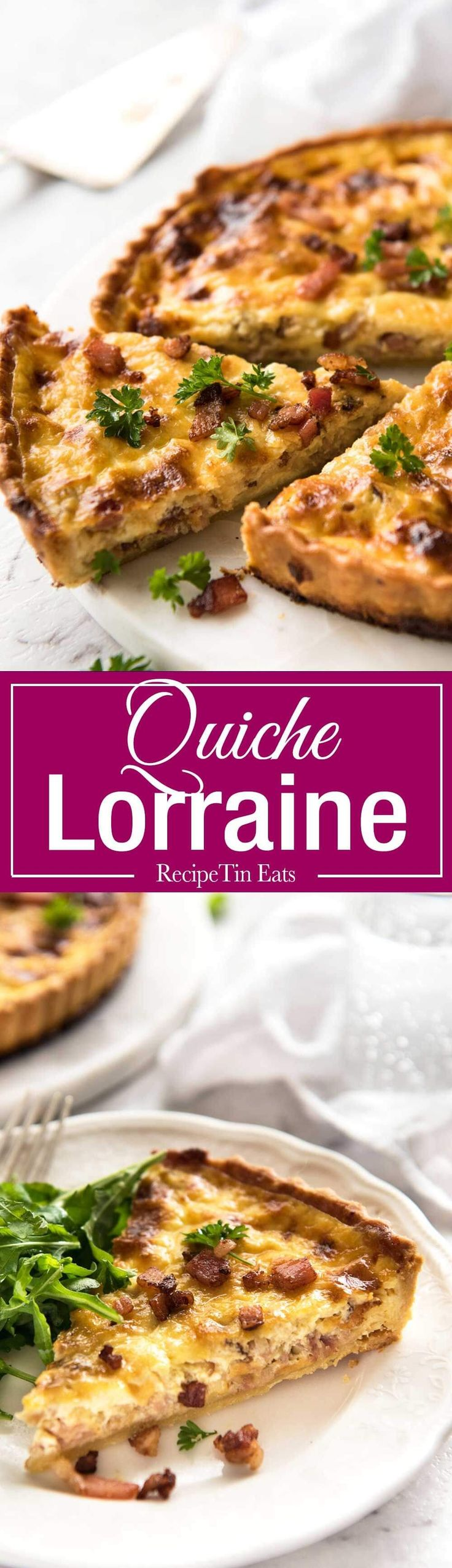 Easy Quiche Lorraine - A beautiful smooth, soft custard filling, this is the BEST easy Quiche Lorraine recipe you will…